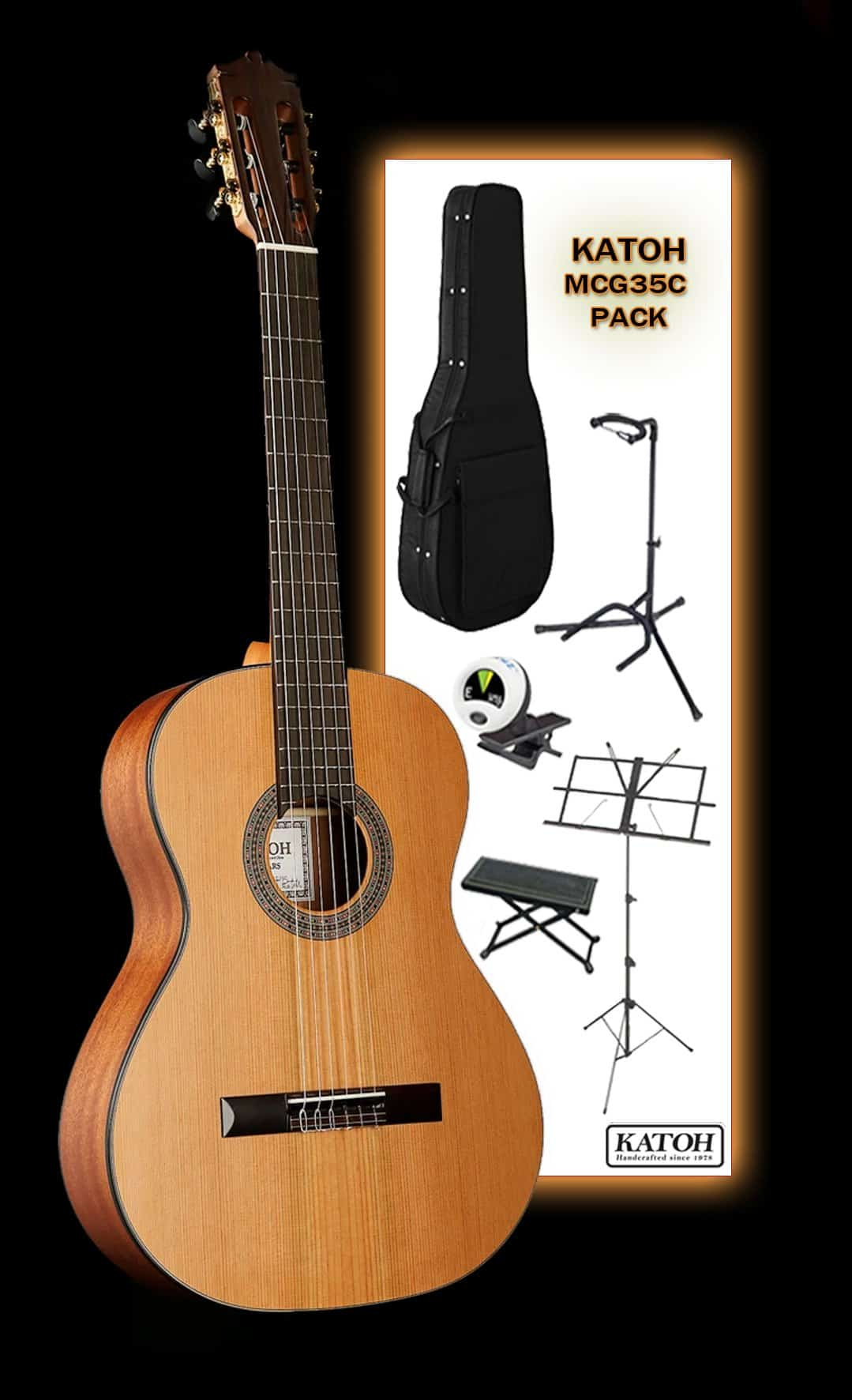 Katoh MCG35C classical guitar pack