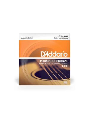 Daddario EJ15 Extra Light 10-47 Phosphor Bronze Acoustic Guitar Strings