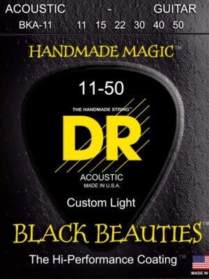 DR Black Beauties BKA-11 Medium Light 11-50 K3 Coated Acoustic Guitar Strings
