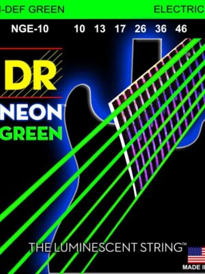 DR Hi-Def Neon Green NGE-10 Medium 10-46 K3 Coated Nickel Plated Electric Guitar Strings