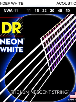 DR Hi-Def Neon White NWA-11 Med Lite 11-50 K3 Coated Acoustic Guitar Strings